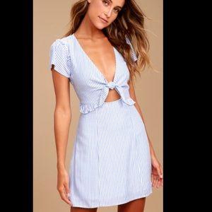 Seaport Light Blue & White Striped Tie-Front Dress